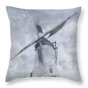 Windmill At Damme In Belgium Countryside Throw Pillow