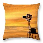 Windmill At Dawn 2008 Throw Pillow