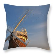 Windmill At Dusk On The Norfolk Broads In Autumn Throw Pillow