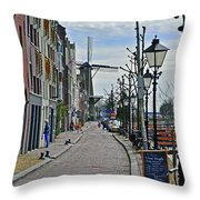 Windmill At The End Of The Street Throw Pillow