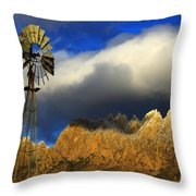 Windmill At The Organ Mountains New Mexico Throw Pillow by Bob Christopher