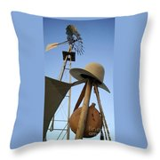 Windmill Canteen And Cowboy Hat 1 Throw Pillow