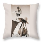 Windmill Canteen And Cowboy Hat 4 Throw Pillow
