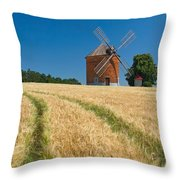 Windmill In A Field Of Corn.  Throw Pillow