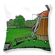 Windmill In A Park In Enkhuizen-netherlands Throw Pillow