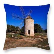 Windmill In El Pilar De La Mola On Formentera Throw Pillow
