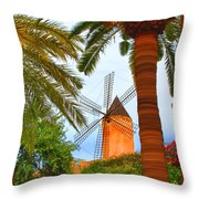 Windmill In Palma De Mallorca Throw Pillow
