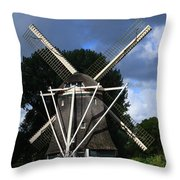 Windmill In Dutch Countryside Throw Pillow