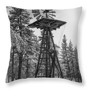 Windmill In The Snow Black And White Throw Pillow