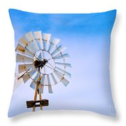 Windmill In Winter Throw Pillow