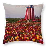Windmill Of Flowers Throw Pillow