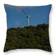 Windmill On A Mountain Throw Pillow