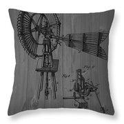 Windmill Patent Barn Wall Throw Pillow