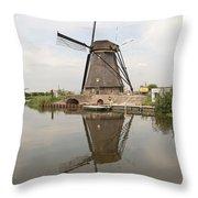 Windmill Reflection Throw Pillow