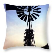 Windmill Silhouette Throw Pillow