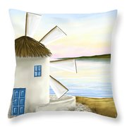 Windmill Throw Pillow by Veronica Minozzi
