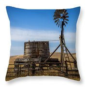 Windmill Water Pump Station Throw Pillow