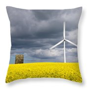 Windmill With Motion Blur In Rapeseed Field Throw Pillow