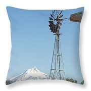 Windmill With Mount Jefferson In Central Oregon Throw Pillow