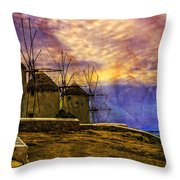 Windmills In Mykonos Throw Pillow