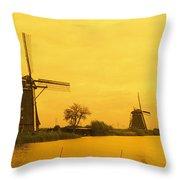 Windmills Netherlands Throw Pillow
