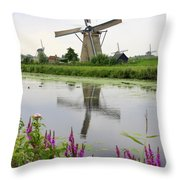 Windmills Of Kinderdijk With Flowers Throw Pillow