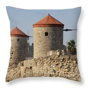 Windmills Of Rhodos - Port Of The Myloi Throw Pillow