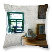 Window And Little Dressing Table In An Old Thatched Cottage Throw Pillow