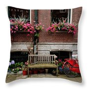 Window Box Bicycle And Bench  -- Amsterdam Throw Pillow