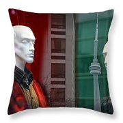 Window Display In Toronto At Christmas Time Throw Pillow