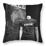 Window Display Sale In Black And White Photograph With Mannequin No.0129 Throw Pillow