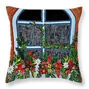 Window Flower Box On A Stucco Wall Throw Pillow