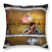 Window - Hoboken Nj - Hale And Hearty Soups  Throw Pillow by Mike Savad
