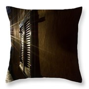 Window In An Alley With Sunlight Throw Pillow