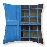 window in blue - British style window in a mediterranean blue Throw Pillow