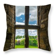 Window In Linlithgow Palace With View To A Beautiful Scottish Landscape Throw Pillow