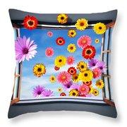 Window Of Flowers Throw Pillow