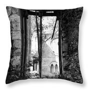 Window Of Haunted Abbey Throw Pillow