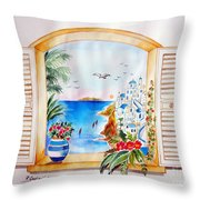 Window On Santorini Throw Pillow