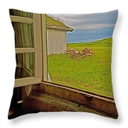 Window On Sod-covered Roof In Louisbourg Living History Museum-1744-ns Throw Pillow