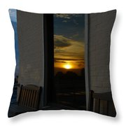 Awesome Sunset Window Reflections Downtown Charleson Sc Throw Pillow by Ella Char