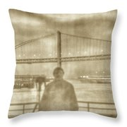 window self-portrait Embarcadero San Francisco Throw Pillow