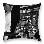 Window Shopping Cowboy Throw Pillow