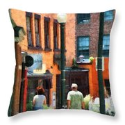 Window Shopping In Downtown Asheville Throw Pillow