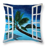 Window To Paradise Beach Throw Pillow