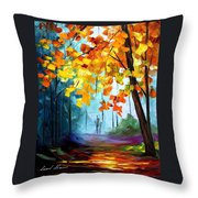 Window To The Fall - Palette Knife Oil Painting On Canvas By Leonid Afremov Throw Pillow