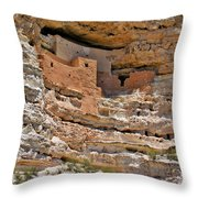 Window To The Past - Montezuma Castle Throw Pillow by Christine Till