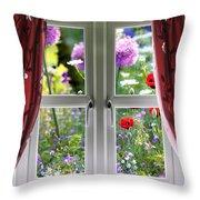 Window View Onto Wild Summer Garden Throw Pillow