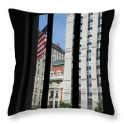 Window View With Flag Throw Pillow