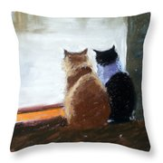Window Watching Throw Pillow by Lenore Gaudet